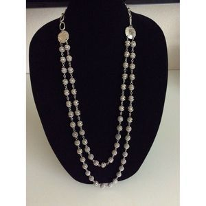 Chico's Silver Metal Multi-Strand Long Necklace